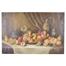 1940's Hungarian Oil Painting Still Life Bountiful Table sgnd Karoly Paldeak