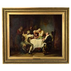 19th Century Gaisser German Oil Painting Men Carving Turkey while Dog Watches