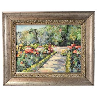 Impressionist Oil Painting Garden Path with Flowers signed Sully Misso