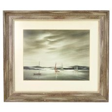 1966 Watercolor Sailboats Under Darkening Skies Shirley Jasper Wisconsin