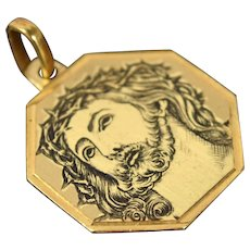 Vintage 18k Solid Yellow Gold Octagonal Pendant Engraved Jesus Christ Italy