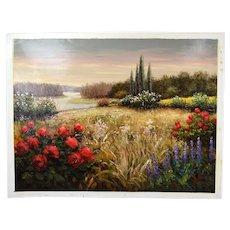 Impressionist Landscape Oil Painting Meandering River Roses Wildflowers Pisarski