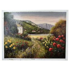 Impressionist Oil Painting Mountain Landscape w Cottages on Lake Pisarski
