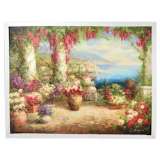 Impressionist Oil Painting Lush Veranda Overlooking Mediterranean Sgnd Robbins
