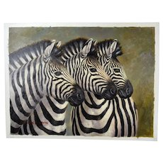 Vintage Realist Wildlife Oil Painting Three Zebras signed Max Sloane