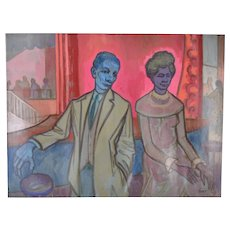 """Vintage 1950's Painting """"Blue Couple"""" Dick Fort Chicago Nightclub Series"""