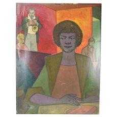 "Vintage 1950's Painting ""Trumpet Player"" Dick Fort Chicago Nightclub Series"