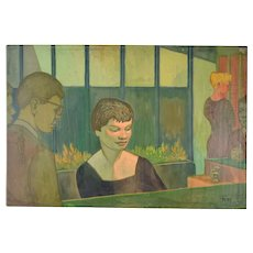 """Vintage 1950's Painting """"Piano Player and Singer"""" Dick Fort Chicago Nightclub Series"""