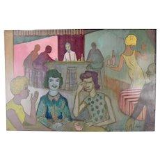"Vintage 1950's Painting ""Gossiping Girls"" Dick Fort Chicago Nightclub Series"