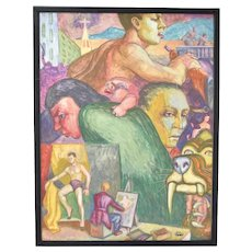 """Vintage 1950's Surrealist Painting """"Face Montage"""" Dick Fort Chicago"""