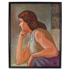 """Vintage 1950's Portrait Painting on Cutting Mat """"Artist Model"""" Dick Fort Chicago"""