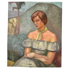 Vintage 1950's Portrait Painting Woman in Strapless Gown Dick Fort Chicago