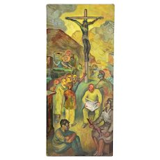 """Vintage 1950's Oil Painting """"Modern Day Crucifixion"""" Dick Fort Chicago"""