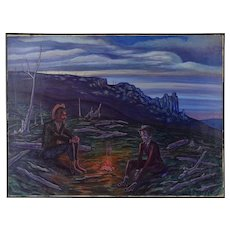 """Vintage 1960's Oil Painting """"Martyrs: Kennedy & King"""" Western Scene Dick Fort Chicago"""