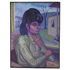 """Vintage 1960's Large Portrait Oil Painting """"Maxine"""" Dick Fort Chicago"""