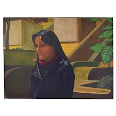 """1980's Portrait Oil Painting """"Chrissa"""" Water Tower Place Chicago Dick Fort"""