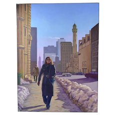"""1980's Cityscape Painting """"Chrissa Water Tower N. Michigan Ave"""" Chicago Dick Fort"""