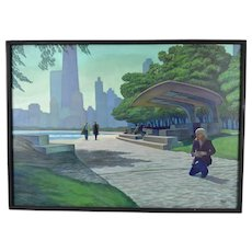 """1980's Oil Painting """"Michelle in Chicago's Lincoln Park"""" Chess Pavilion Dick Fort"""