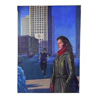 """1980's Cityscape Oil Painting """"Chrissa on North Michigan Ave"""" Chicago Dick Fort"""
