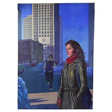 "1980's Cityscape Oil Painting ""Chrissa on North Michigan Ave"" Chicago Dick Fort"