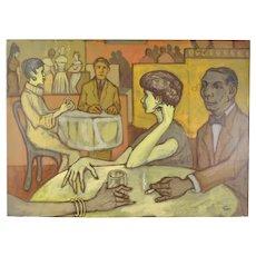 "Vintage 1950's Painting ""Somber Customers"" Dick Fort Chicago Nightclub Series"