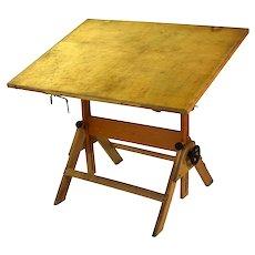 Vintage Industrial Wood Folding Artist Drawing Drafting Table