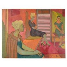"Vintage 1959 Painting ""Waiting Room"" Dick Fort Chicago Nightclub Series"