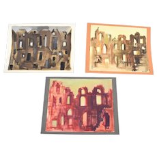 Lot of 3 Andre Delfau Original Gouache Painting Stage Set Design Building Facades