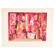 Andre Delfau Original Gouache Painting Stage Set Design Abstracted Geometric Shapes