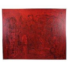 Large Vintage Red Crimson Drip Splatter Oil Painting Signed