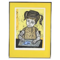 """Irving Amen """"Laura"""" Vintage Woodblock Print Limited Edition Signed"""