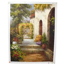 Impressionist Oil Painting Secluded Spanish Courtyard Stone Arches by Owens