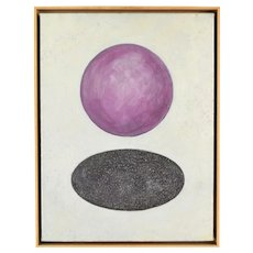 Vintage 80s Modernist Abstract Oil Painting Purple Ball Above Hole Signed Crawford