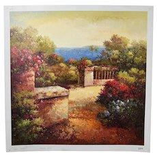 Impressionist Oil Painting Lush Veranda Overlooking Mediterranean