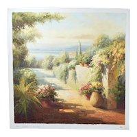 Impressionist Oil Painting Mountain Village Overlook an Open Plain
