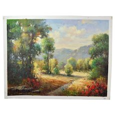 Impressionist Oil Painting Mountain Woodland Landscape signed Conte