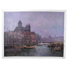 Impressionist Oil Painting Venice Architecture & Docks at Dusk by Morgan