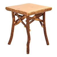 Vintage Rustic Cabin Hickory Log End Occasional Lodge Table