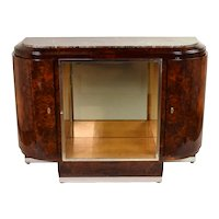 French Art Deco Burlwood Console Table Display Cabinet Sideboard