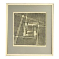 Vintage Mid-Century Modern Geometric Abstract Lithograph Gemini