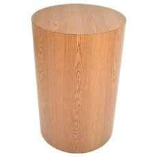 Faux Oak Wood Grain Round Cylinder Pedestal Sculpture Display Stand as-is