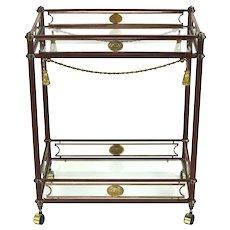 Vintage Empire Style Rolling Metal Bar Cart Tea Trolley