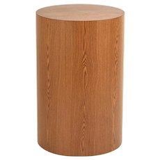 Faux Oak Wood Grain Round Cylinder Pedestal Sculpture Display Stand