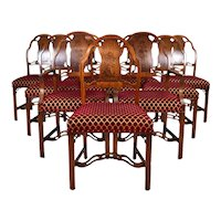 Set 10 Robert Irwin Mahogany Marquetry Art Nouveau Art Moderne Transitional Dining Chairs