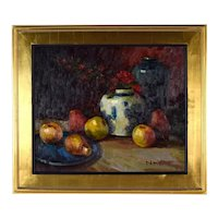 Impressionist Oil Painting Still Life w Apples & Pears by N. Harper