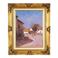 Impressionist Oil Painting Sunny European Village Scene Signed Morgan