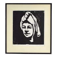 1964 Mid-Century Modern Japanese? Woodblock Print Woman Head Scarf signed #'d