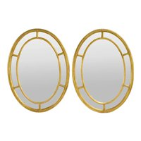 Pair Neoclassical Style Gesso Gilt Wood Oval Wall Mirrors Twisted Rope Pattern