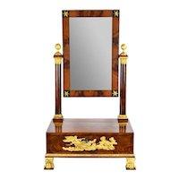 Antique Empire Dressing Mirror Locking Jewelry Box Eros Psyche Ormolu Mounts