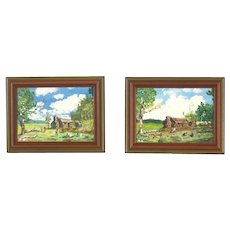 Pair Impressionist Oil Paintings Log Cabin Family Kids Playing
